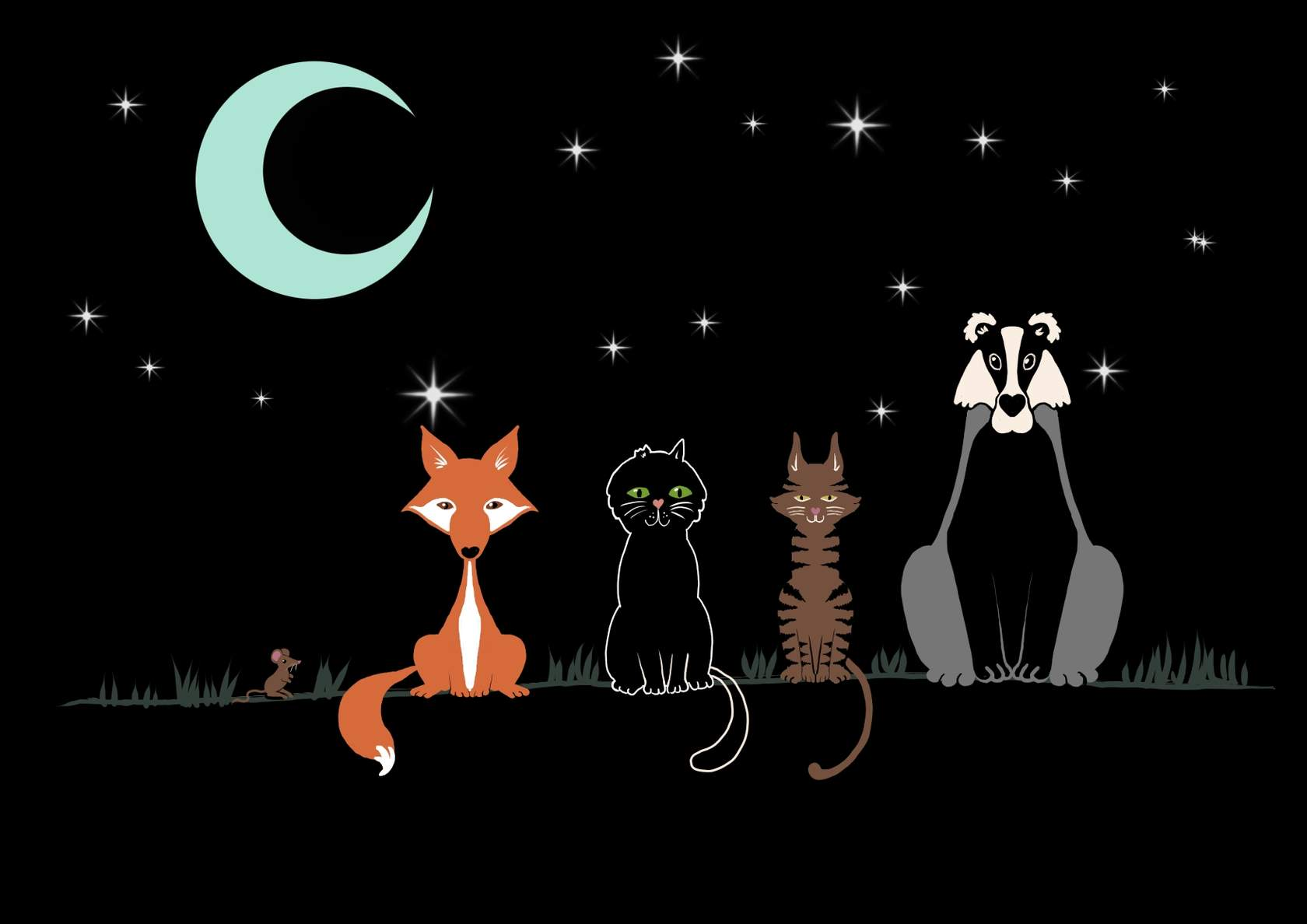 A fox, black cat, a brown cat and a badger at night