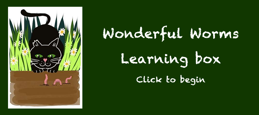 Marley peeking through the grass looking at a worm- Wonderful worms Learning box - click to begin